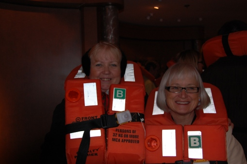 Lynda and Me at the lifeboat drill